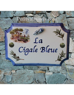 Plaque de Maison rectangle décor calanque+brins d'olives+cigale bleue en relief inscription personnalisée