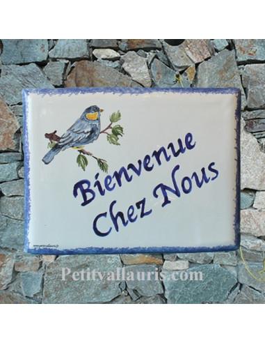 plaque de maison céramique personnalisée décor mésange bleue inscription couleur bleue
