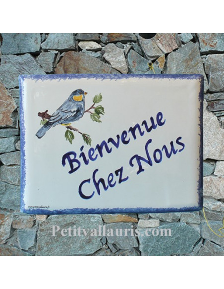 plaque de maison céramique émaillée décor artisanal mésange bleue + inscription personnalisée couleur bleue