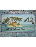 Plaque de Maison rectangle décor personnalisé exotique ilot et palmier inscription noire