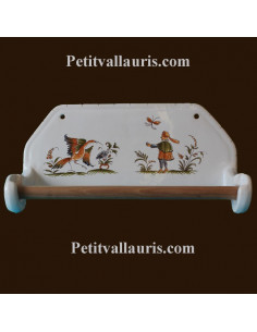Dérouleur de papier essuie-tout mural décor Tradition Vieux Moustiers polychrome