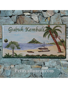 Plaque nom de maison en céramique décor plage exotique