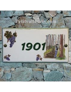 Grande plaque de maison rectangle en faience 40 x 20 cm décor artisanal Résinier dans les Landes + personnalisation