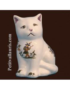 Chaton céramique décor Tradition Vieux Moustiers polychrome