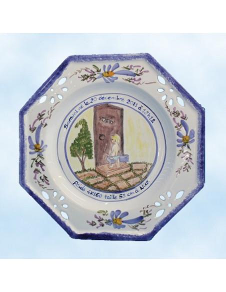 Assiette de naissance octogonale ajourée Naissance coloris bleu