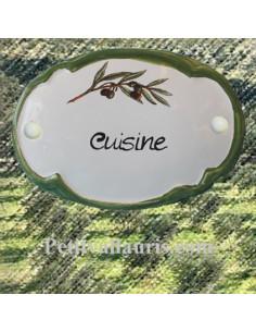 Plaque de porte ovale en faience blanche décor Brin d'olivier inscription cuisine