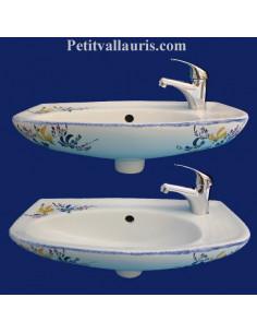 Lave-main modèle Imola décor Fleurs jaunes et bleues