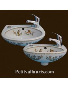 Lave-main modèle Nadine décor Tradition Vieux Moustiers polychrome