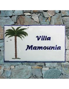 Plaque pour maison en céramique décor palmier