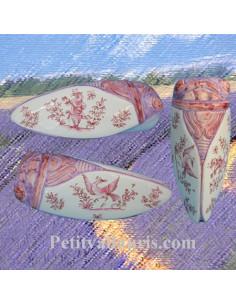 Cigale faïence céramique décor Tradition Vieux Moustiers rose (T.4)