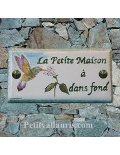 Plaque nom de maison faience émaillée décor couple danseurs inscription personnalisée décor colibri
