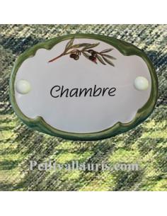 Plaque de porte ovale inscription Chambre brin d'olivier