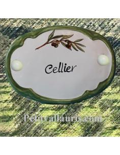 Plaque de porte ovale inscription Cellier brin d'olivier