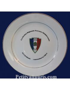 Assiette départ retraite ou mutation en porcelaine inscription et logo personnalisé