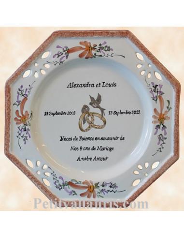 Grande Assiette Anniversaire De Mariage Modèle Octogonale Décor Fleurs Saumons Beige Avec Poème Noces De Faience