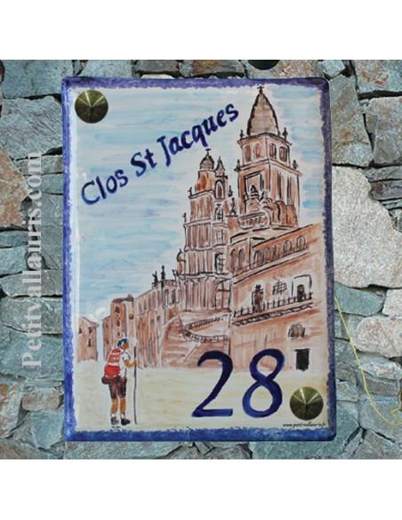 Plaque de maison émaillée motif cathédrale saint jacques de compostelle et inscription personnalisée