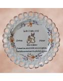 Assiette de Mariage modèle Tournesol décor fleurs saumons avec poème personnalisé