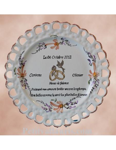 Assiette de Mariage modèle Tournesol décor fleurs saumons avec marquage personnalisé