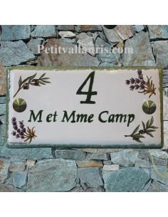 Plaque nom maison faience émaillée décor brins d'olives et lavandes inscription personnalisée verte