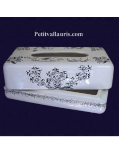 Boîte à mouchoirs papier décor Tradition Vieux Moustiers bleu