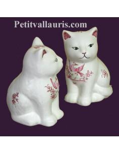 Chaton céramique décor Tradition Vieux Moustiers rose