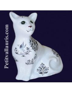 Chat céramique modèle Mistigri décor Tradition Vieux Moustiers bleu