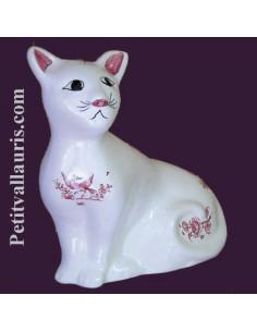 Chat céramique modèle Mistigri décor Tradition Vieux Moustiers rose