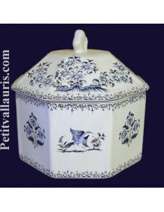 Boîte octogonale décor Tradition Vieux Moustiers bleu