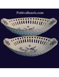 Corbeille ovale dentelée décorative décor Tradition Vieux Moustiers bleu