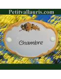 Plaque de porte ovale Chambre décor brin de mimosas