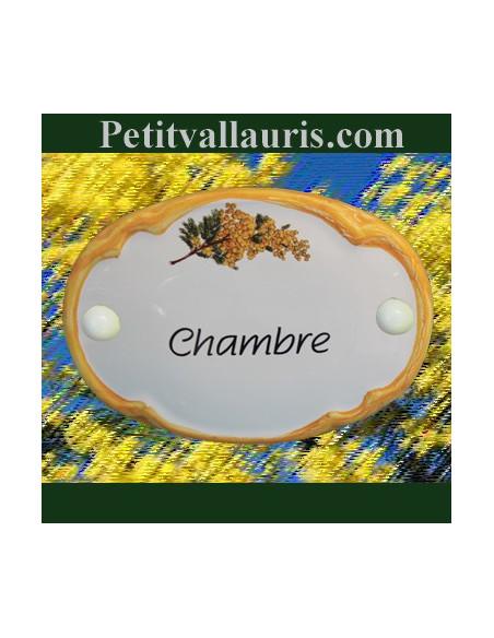 Plaque de porte modèle ovale décor brin de mimosas avec inscription Chambre