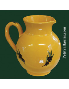 Pichet à eau 1Litre fond provençal décor Olives noires