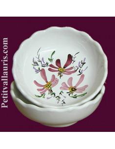 Coupelle dentellée décor Fleuri rose