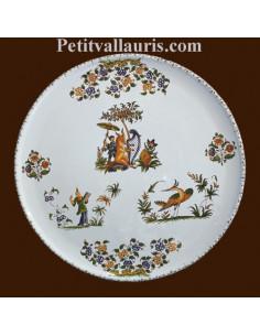 Plat à tarte décor Tradition Vieux Moustiers polychrome