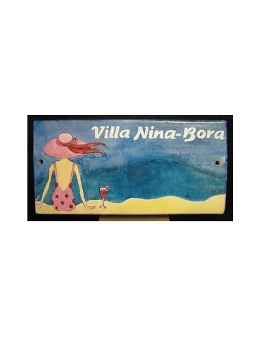 Plaque de Maison rectangle décor personnalisé balnéaire naïf inscription bleue