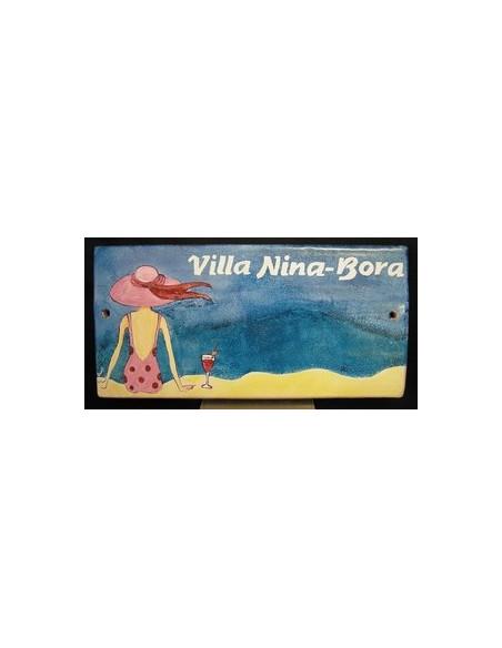Plaque de Maison en céramique émaillée décor artisanal balnéaire et naïf + inscription personnalisée