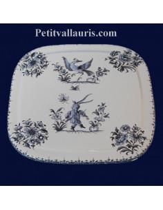 Dessous de plat forme carrée décor Tradition Vieux Moustiers bleu