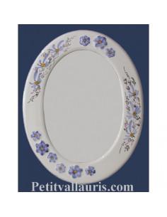 Miroir ovale décor Fleuri bleu et Fleur en relief