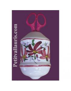 Distributeur de ficelle émaillé décor fleur rose