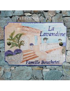 Plaque pour villa en céramique décor villa provençale