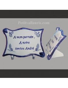 Plaque funéraire en céramique décor Olives et lavandes bleues