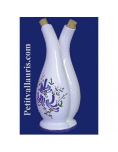 Huilier- vinaigrier en céramique décor fleurs bleues