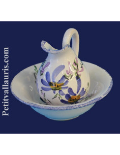 Lave main en faïence décor Fleuri bleu