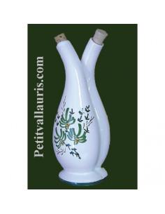 Huilier- vinaigrier en céramique décor fleurs vertes