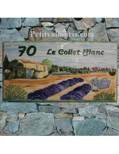 Grande plaque de maison en céramique émaillée décor artisanal Bastide et Charrette Provençale + inscription personnalisée
