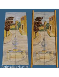 Fresque murale sur carreau décor Petit Village Provençal