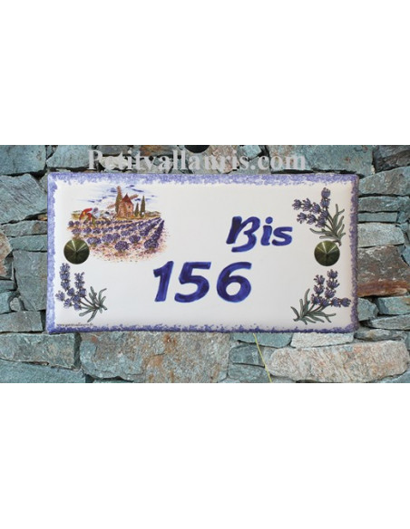 Plaque de maison faience émaillée décor moulin et paysage lavande inscription personnalisée bleue