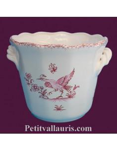 Cache pot droit anse petit modèle décor Tradition Vieux Moustiers bleu