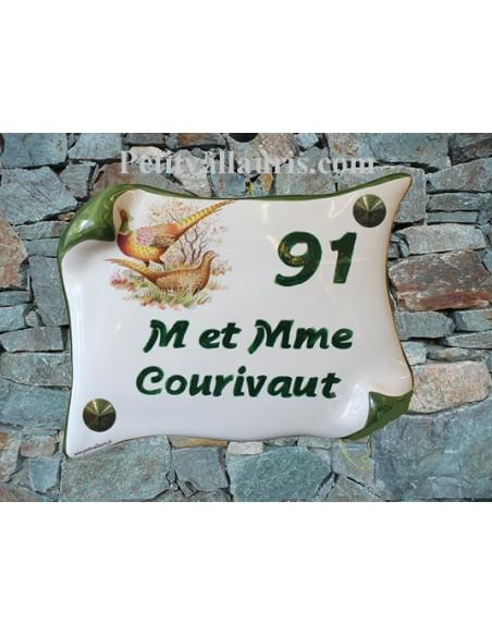 Plaque de Maison parchemin décor les faisans inscription personnalisée verte
