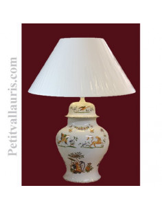 Lampe en faïence modèle chinois décor Tradition Vieux Moustiers polychrome
